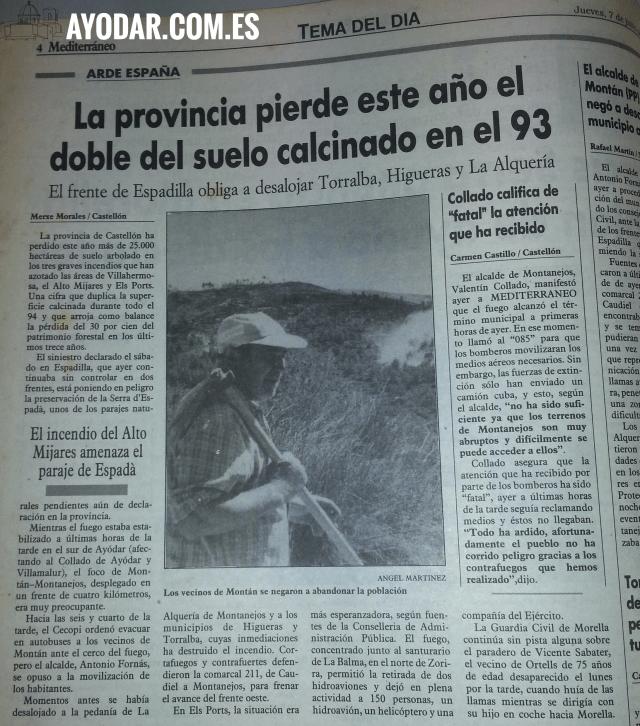 Los vecinos de Montan se niega abandonar pueblo. Diario Mediterraneo Castellon 7 Julio 1994
