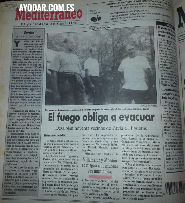 Desalojo de los vecinos de Higueras y Pavias, el 7 de Julio de 1994. Diario Mediterraneo de Castellon