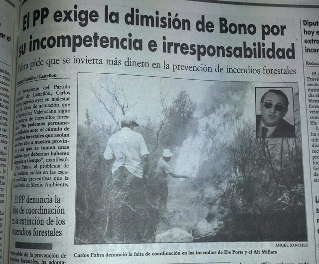 Carlos Fabra pide la dimisión de Emerit Bono. Diario Mediterráneo Castellón